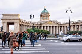 Tourists In The Street At Kazan Cathedral In St Petersburg, Russia  Editorial Stock Photo - Image of road, church: 131547573